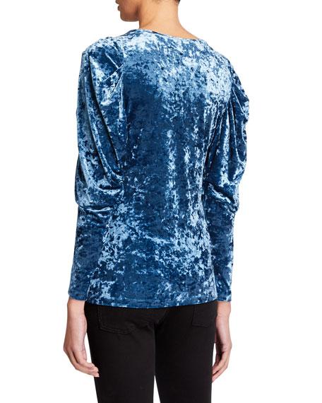 Kobi Halperin Patricia Bishop-Sleeve Crushed Velvet Blouse