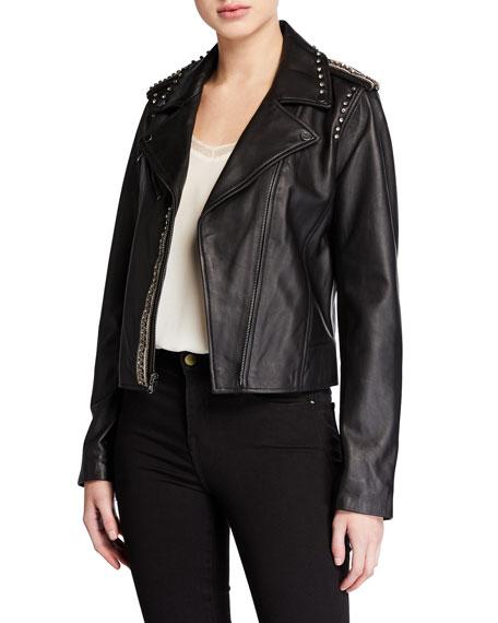 Kobi Halperin Donella Embellished Leather Moto Jacket