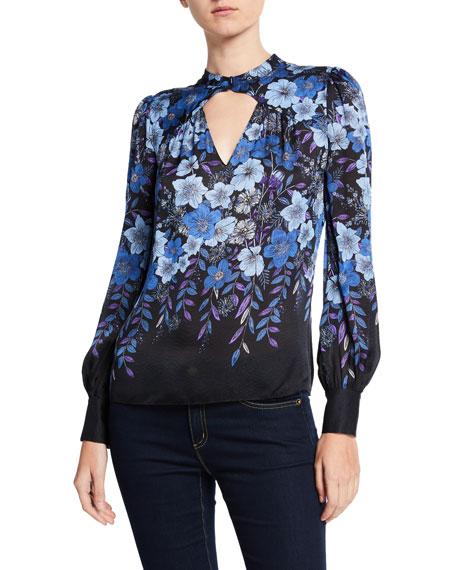 Elie Tahari Siobhan Floral Long-Sleeve Keyhole Blouse In Black Multi