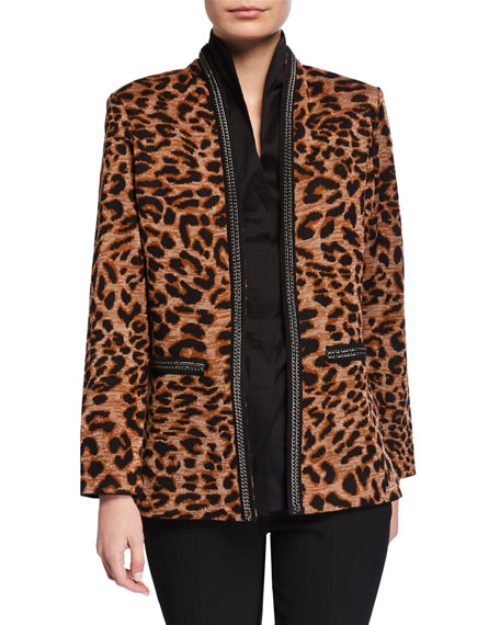 Misook Petite Leopard-Print Jacket with Chain Detail