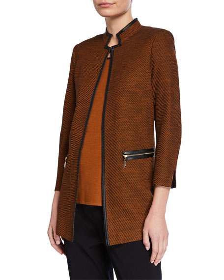 Misook Petite Long Jacket with Faux Leather Trim & Mandarin Collar
