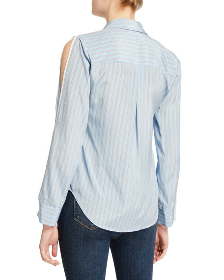 Image 2 of 2: L'Agence Maggie Striped Split-Sleeve Blouse