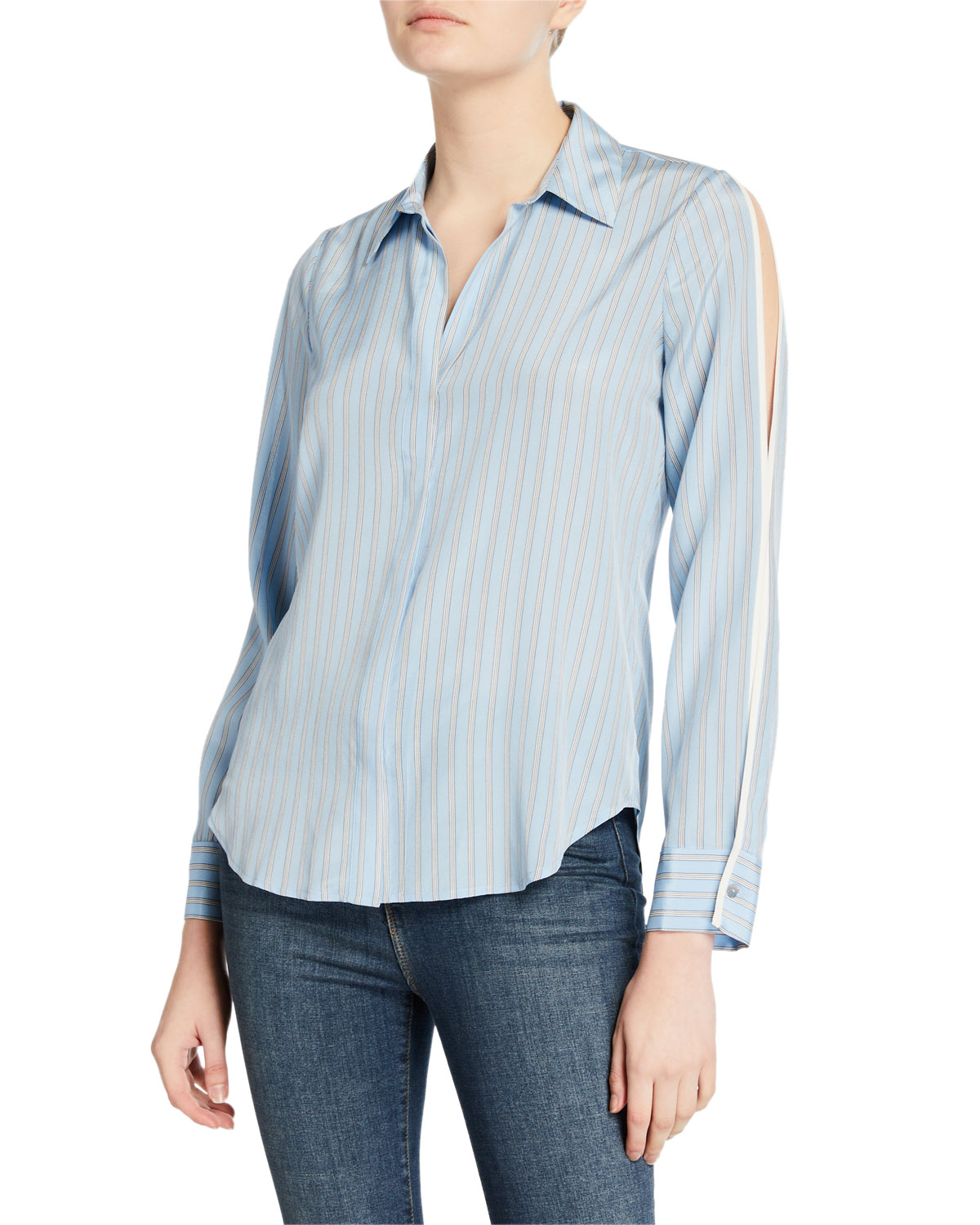 L'Agence Maggie Striped Split-Sleeve Blouse