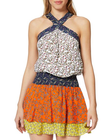 Ramy Brook Crystal Printed Sleeveless Short Dress