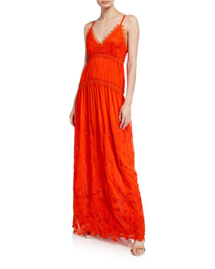 a975319fe49 Ramy Brook Genine Embroidered Sleeveless Maxi Dress