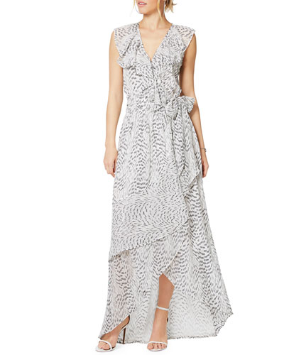 Wilma Printed Ruffle High-Low Maxi Dress