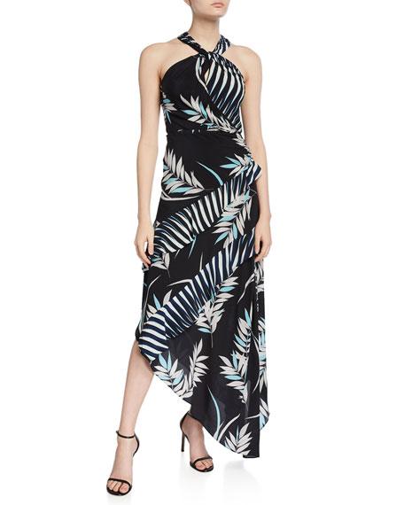 Ramy Brook Sidra Printed High-Neck Asymmetrical Dress