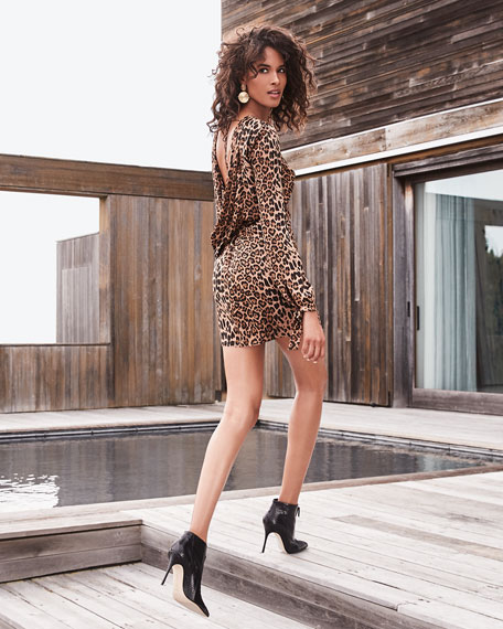 Dress The Population Dahlia Leopard Cowl-Back Long-Sleeve Short Dress