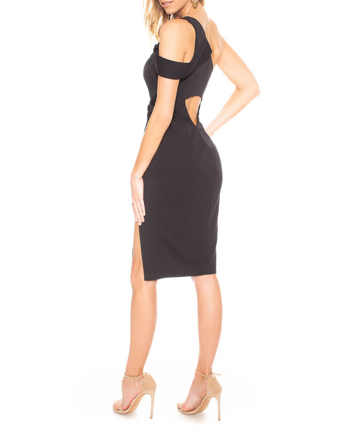 Chic Af Asymmetric Knot Shoulder Cutout Back Dress by Katie May