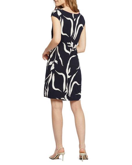 NIC+ZOE Petite Iris Printed Cap-Sleeve Twist Dress