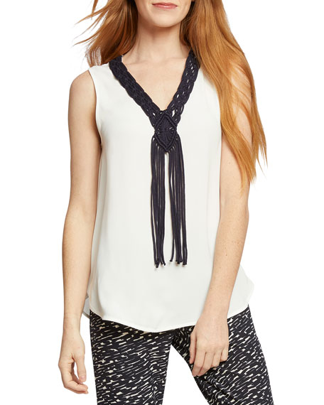 NIC+ZOE Know The Ropes Tank with Macrame Rope Detail