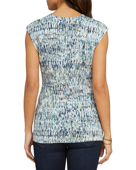 NIC+ZOE Field Impression Printed Twist-Front Cap-Sleeve Top