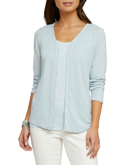 NIC+ZOE All Day Button-Front Linen-Modal Cardigan