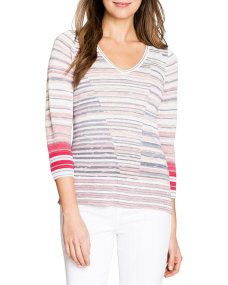 NIC+ZOE Skyline Striped V-Neck 3/4-Sleeve Sweater