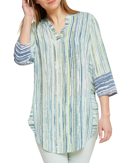 NIC+ZOE Awakening Striped V-Neck 3/4-Sleeve Tunic Top