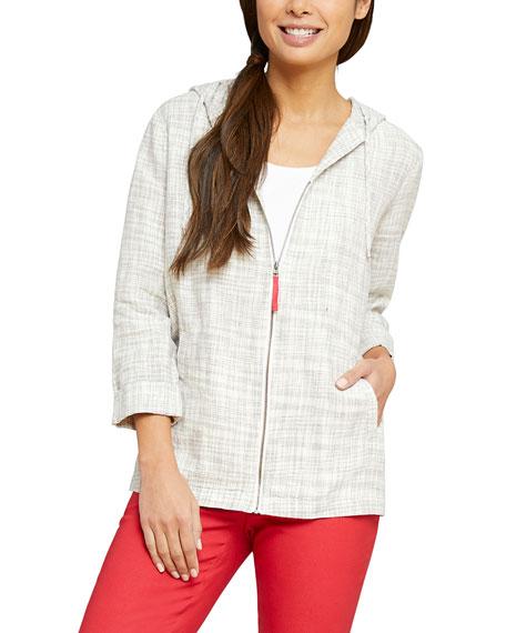NIC+ZOE Early Bird Zip-Front Hooded Linen Jacket