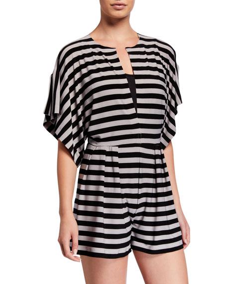 Norma Kamali Striped Dolman-Sleeve Short Jumpsuit