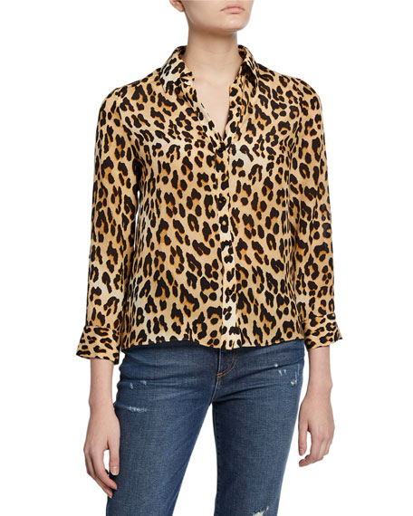 Alice + Olivia Eloise Silk Button-Down Blouse