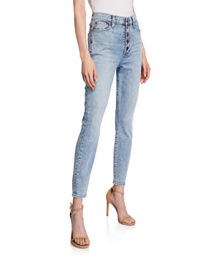 61ee32c9300c ALICE + OLIVIA JEANS Good High-Rise Exposed Button Skinny Jeans
