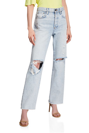 ALICE + OLIVIA JEANS Amazing High-Rise Boyfriend Jeans