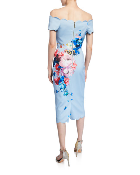 Ted Baker London Raspberry Ripple Bardot Floral Off-the-Shoulder Short-Sleeve Scallop Dress