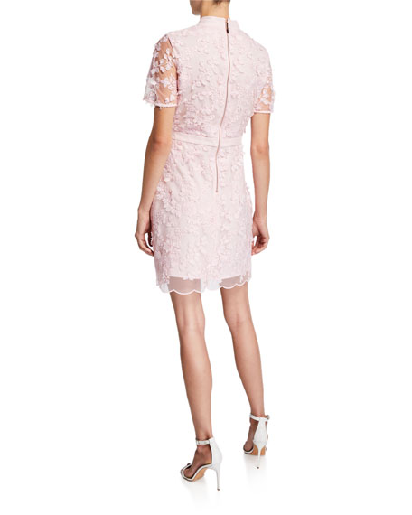 Ted Baker London Mock-Neck Short-Sleeve Floral Lace Dress