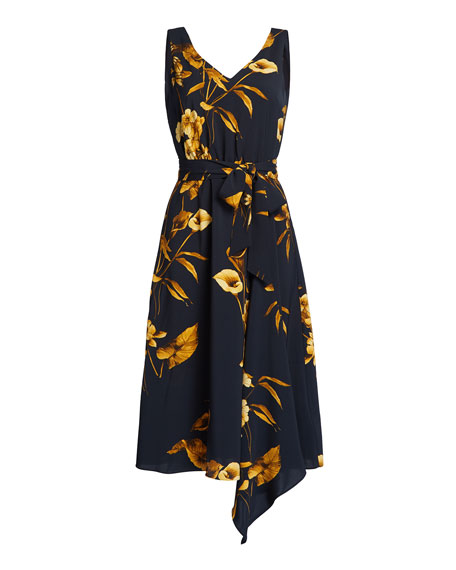 Ted Baker London Fantasia Floral Sleeveless Asymmetric Dress