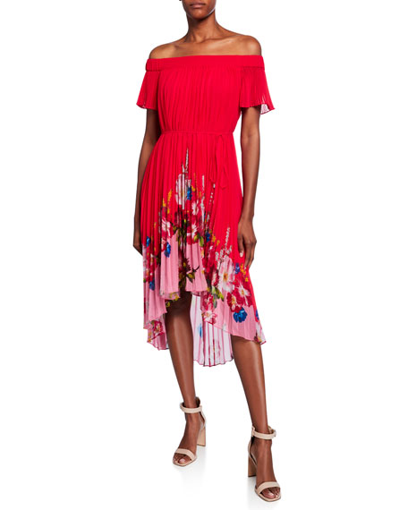 Ted Baker London Berry Sundae Bardot Floral Off-the-Shoulder Pleated High-Low Dress