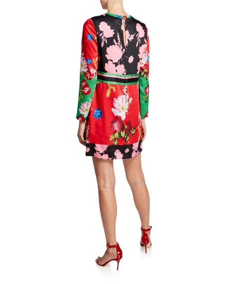 Ted Baker London Berry Sundae Floral Long-Sleeve Paneled Tunic Dress