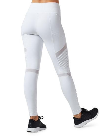 Blanc Noir High-Rise Pintuck Mesh Leggings
