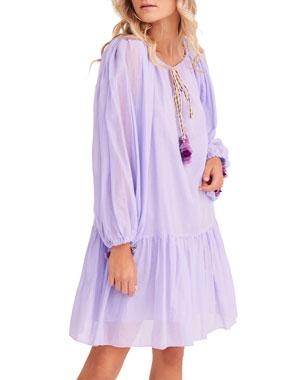 6718d41bc2 Pitusa Pea Drop-Waist Long-Sleeve Short Dress