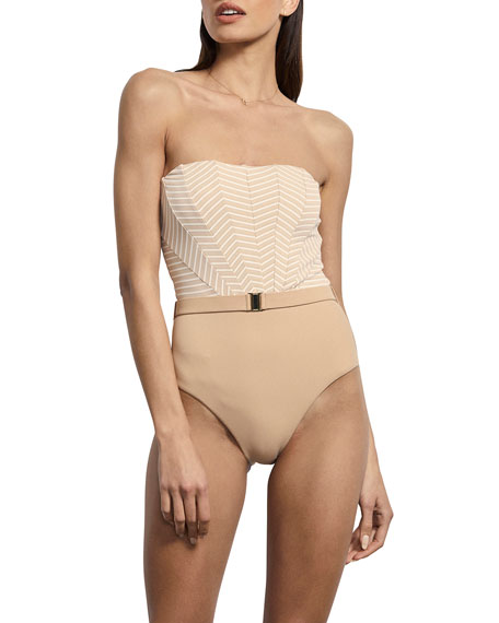 Amaio Swim Brigitte Striped Belted Maillot One-Piece Swimsuit