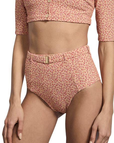 Amaio Swim Jolie High-Waist Floral Jacquard Bikini Bottom