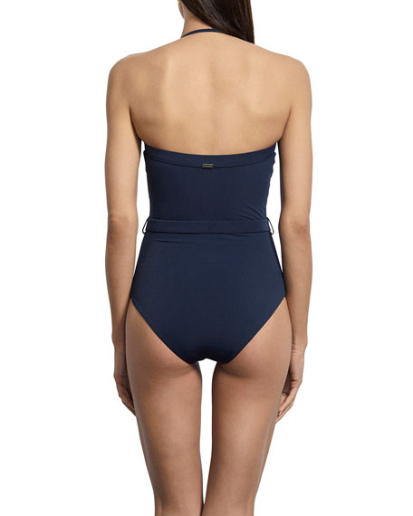 Amaio Swim Nathalie Belted Strapless Maillot One-Piece Swimsuit