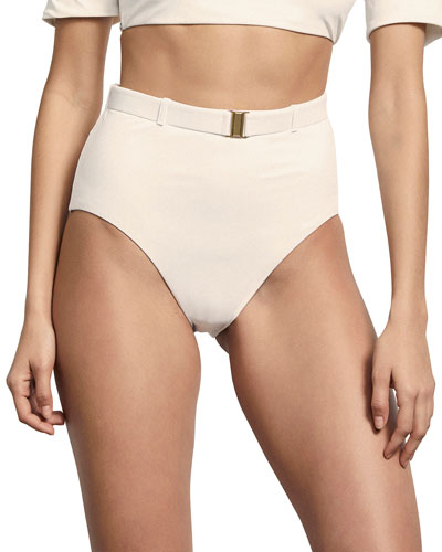 Nantes Belted High-Waist Swim Bottom