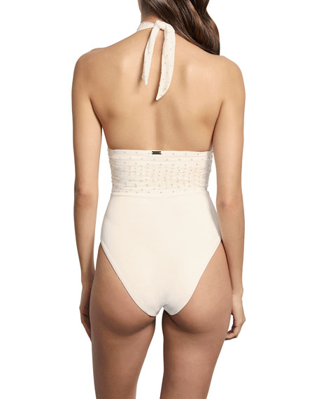 Amaio Swim Rene High-Mesh Maillot One-Piece Swimsuit