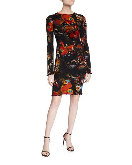 Fuzzi Butterfly Long-Sleeve Mini Dress