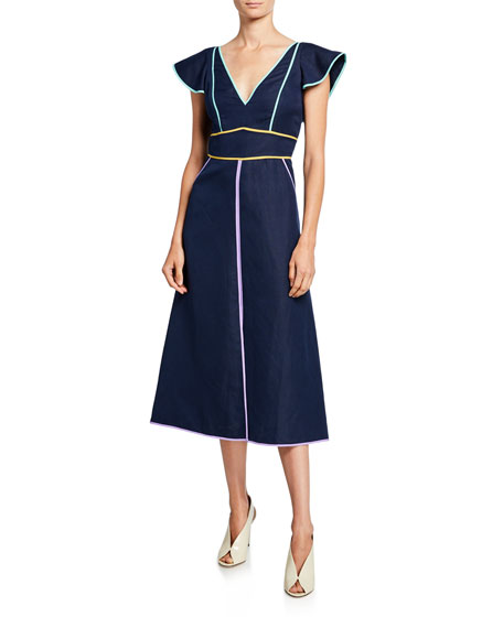 kate spade new york silk/linen v-neck short-sleeve midi dress with contrast trim