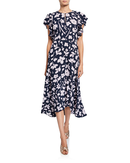 kate spade new york splash floral keyhole flutter-sleeve midi dress