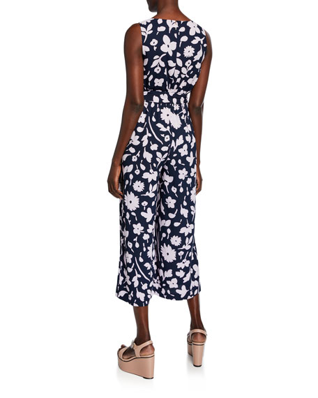kate spade new york splash floral tie-waist sleeveless cropped jumpsuit