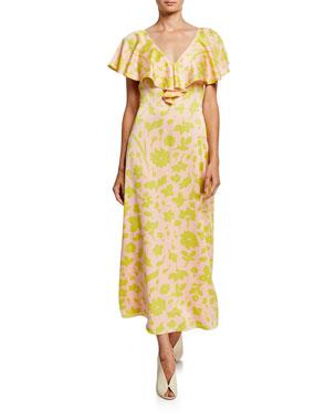 ae08d6f63a2e kate spade new york splash floral v-neck cross-back short-sleeve satin