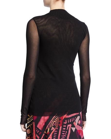 Fuzzi V-Neck Long-Sleeve Top w/ Knit Detail