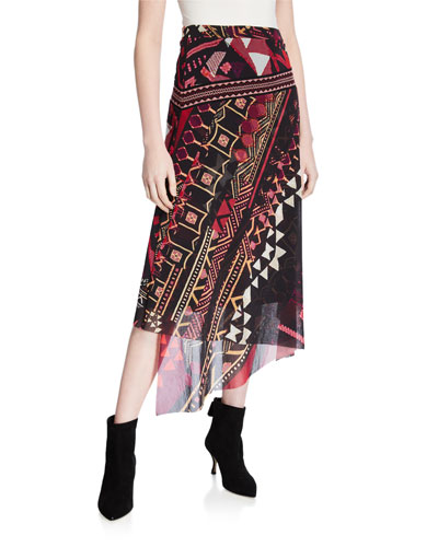 Geometrico Asymmetric Midi Skirt