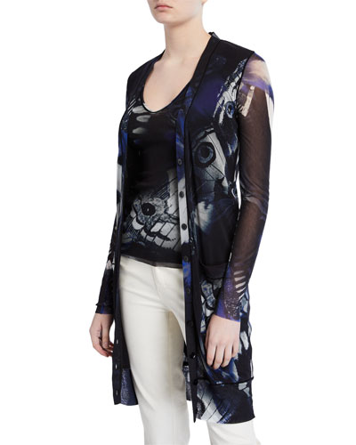Butterfly Long Button-Front Cardigan