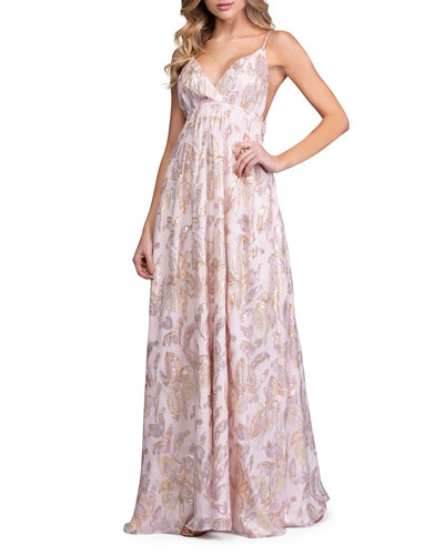 Metallic Embroidered Silk Sleeveless Maxi Dress