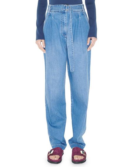 Tibi Vintage Stone-Wash Denim Pleated Pants