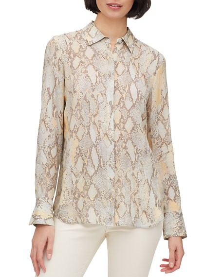 Lafayette 148 New York Plus Size Scottie Sidewinder Snake-Print Button-Down Blouse