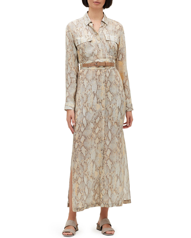 Plus Size Doha Sindewinder Snake-Print Long-Sleeve Belted Dress