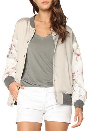 James Jeans Varsity Floral Snap-Front Bomber Jacket