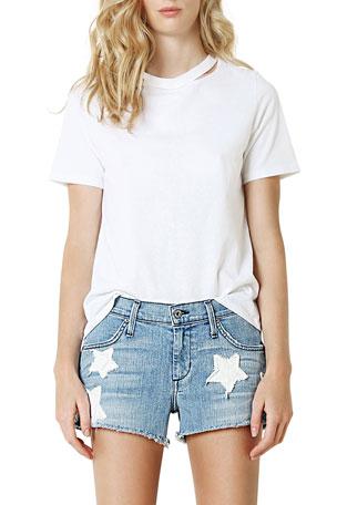 James Jeans Baggy Beau Boyfriend Shorts w/ Stars
